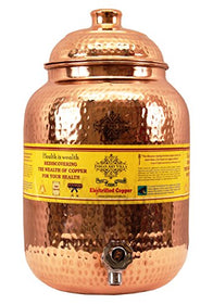 Indian Art Villa Hammered Copper Water Dispenser Container Pot Matka, Storage Water, Kitchenware, 8 Ltr | SpreeIndia.com - India's First Website That Discovers Eco-Friendly Products