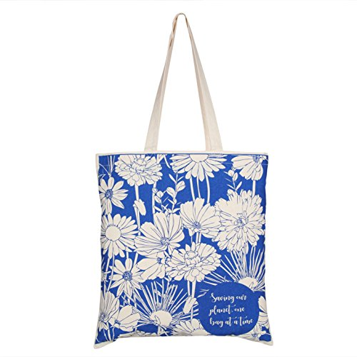 "EcoRight Tote Bag 100% Cotton Canvas Reusable EcoFriendly Printed ""Flowers"" (Natural) - 0101A05 