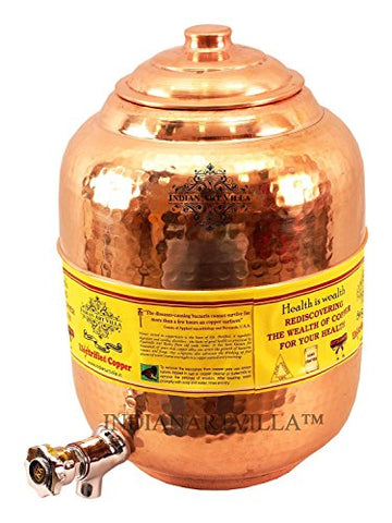 IndianArtVilla Copper Water Dispenser Storage Pot Matka With 2 Glass Tumbler, Serveware Set (3 Pieces) | SpreeIndia.com - India's First Website That Discovers Eco-Friendly Products