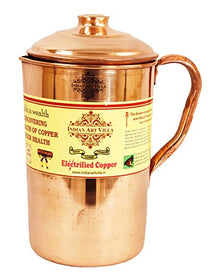 IndianArtVilla Plain Pure Copper Jug Pitcher, For Drinking water, Health Benefits, 1.6 Liters