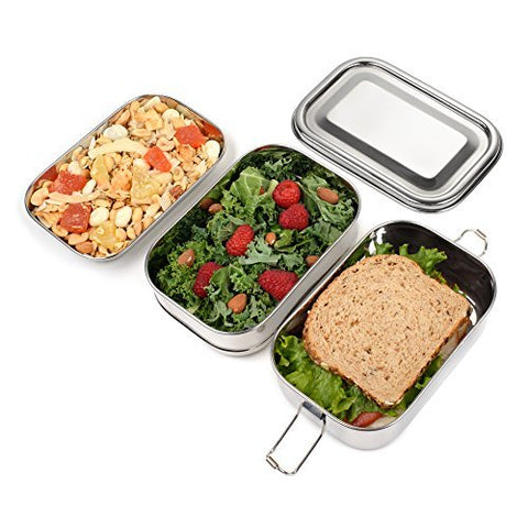 King International Stainless Steel Lunch Box | Food Grade Bento Lunch Box Rectangle School Tiffin Box | 2 Tier | SpreeIndia.com - India's First Website That Discovers Eco-Friendly Products