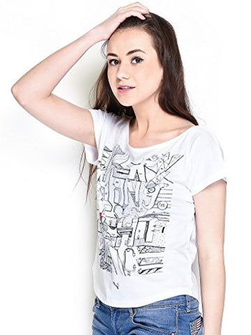 The Glu Affair Women's Cotton White Boat Neck Top, Large | SpreeIndia.com - India's First Website That Discovers Eco-Friendly Products