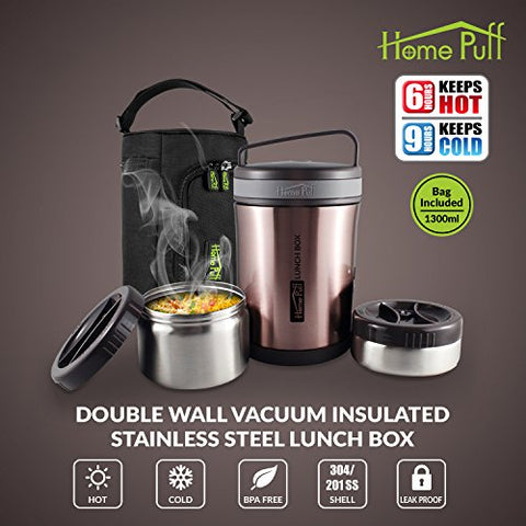 Home Puff Double Wall Vacuum Insulated Stainless Steel Lunch Box, 2-Containers, 1.3 Litre, Rose Gold