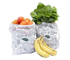 Clean Planet Eco Veggie (Set Of 2 Regular Leafy Printed) Eco-Friendly Produce Storage Bag