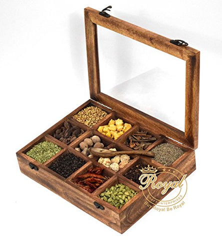 Royal Craft Enterprises Wooden 12 Containers Multipurpose Spice Box with Spoon(Light Black, 30x22.5x7cm)