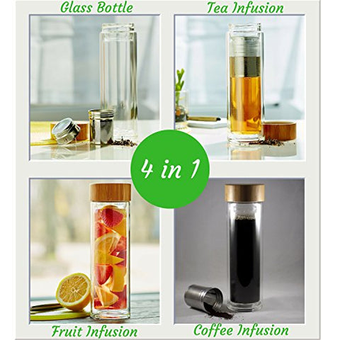 4-in-1 Glass Water Bottle With Tea+Coffee+Fruit Infuser