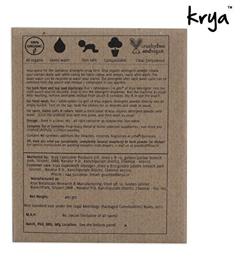 Krya Natural Detergent Powder 400 g | SpreeIndia.com - India's First Website That Discovers Eco-Friendly Products