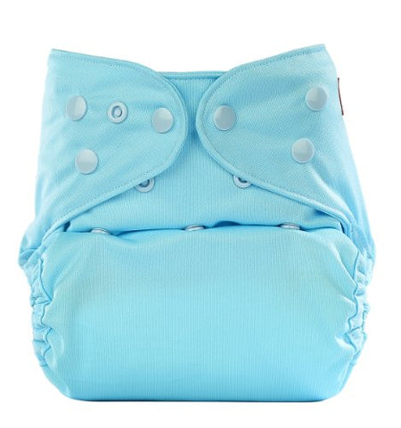 Bumberry Reusable Diaper Cover and 1 Natural Bamboo Cotton Insert (Baby Blue)