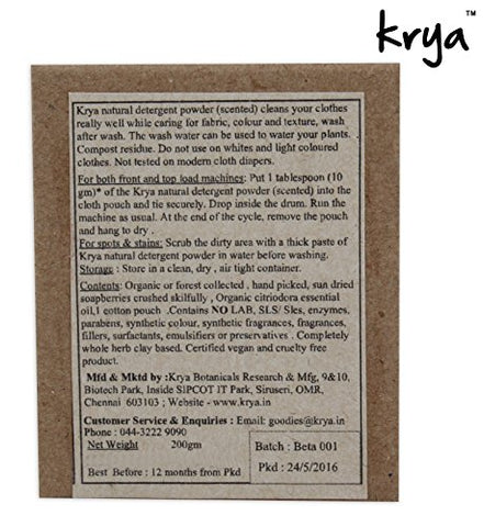 Krya Scented Detergent Powder with Citriodora EO (200gms) | SpreeIndia.com - India's First Website That Discovers Eco-Friendly Products