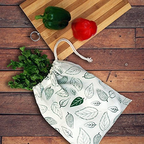 Clean Planet Eco Veggie (Set Of 2 Regular Leafy Printed) Eco-Friendly Produce Storage Bag | SpreeIndia.com - India's First Website That Discovers Eco-Friendly Products