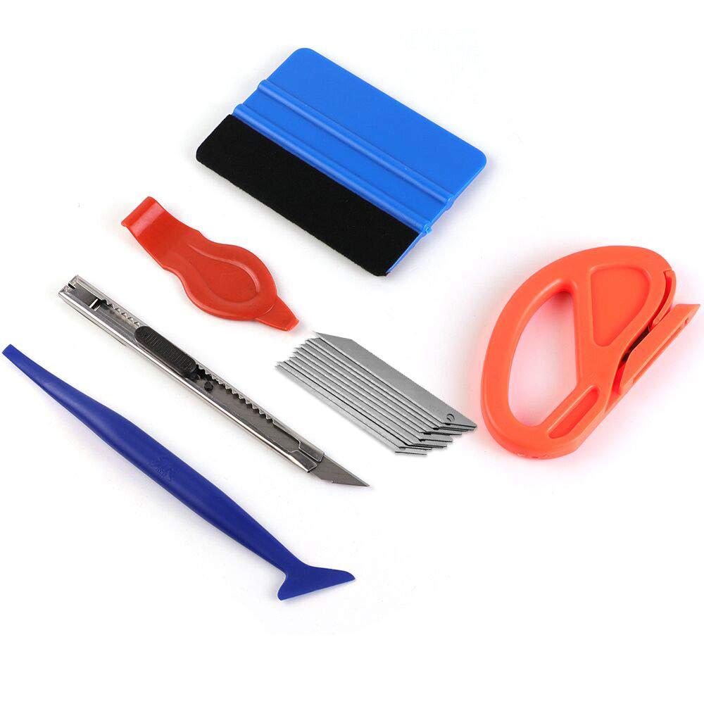 Car Vinyl Wrap Tool kit (Felt Squeegee,Edge trimmer/MIni Soft Corner Squeegee/Retractable Kinfe and 10pcs Kinfe Blades )for Installing Auto wraps and Car Stickers