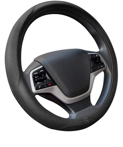 Towswell Microfiber Leather Car Steering Wheel Cover, Universal 15 inch Breathable Anti Slip Auto Steering Wheel Covers, Black