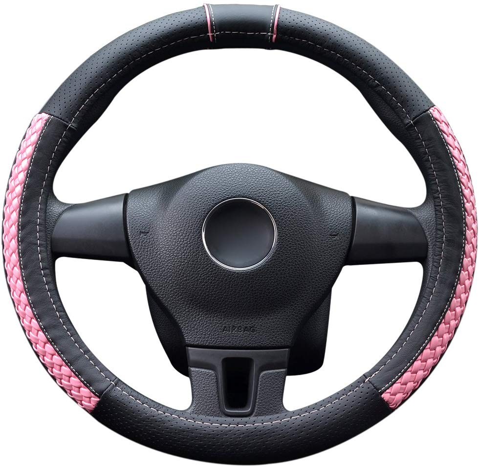 "Home Master Hardware Microfiber Leather Auto Car Steering Wheel Cover Fit 14.56""-14.96""(Pink/M) - Anti-Slip and Durable"