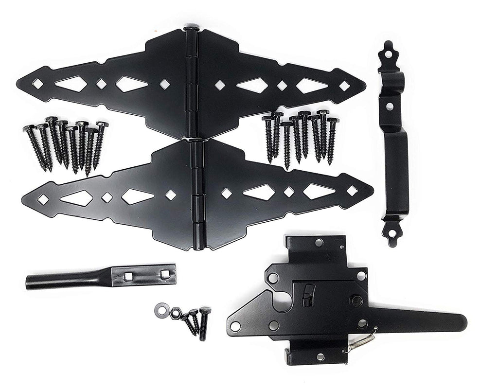 "Home Master Hardware Wood Gate Hardware Set - Heavy Duty 8"" Decorative Strap Hinges and Spring Loaded Latch Gate Kit with Screws for Outdoor Fence Swing Gate Black Finish"