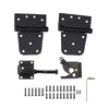 Home Master Hardware Self-Closing Gate Kit Black - 3.5 in Spring Tee Hinges 2 Pack + Self-Adjusting Gate Latch 1 Pack