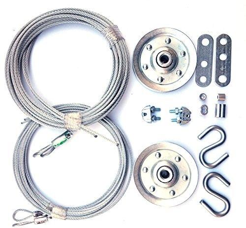 "Home Master Hardware Cable and Pulley Replacement Kit - 4pcs 3"" Heavy Duty Pulleys,2pcs Galvanized Aircraft Cables for Overhead Sectional Garage Doors"