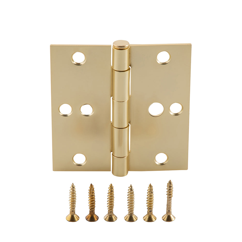 Pack of 30 Door Hinges Satin Brass 3.5 Inch Interior Hinges with Square Corners by Home Master Hardware