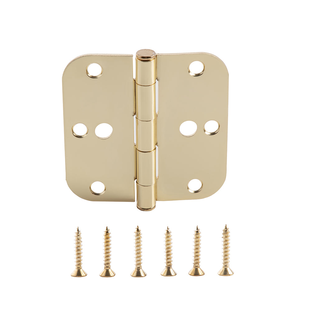 Home Master Hardware (36 Pack) 3.5 in. x 3.5 in Door Hinges 5/8 in Radius Corner Safety Holes Interior Hinge With Screws Satin Brass Finish