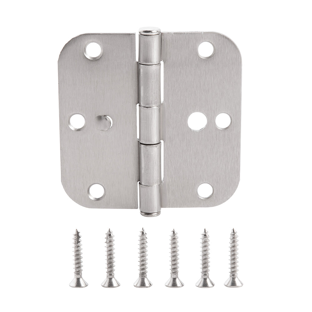 Home Master Hardware (36 Pack) 3.5 in. x 3.5 in Door Hinges 5/8 in Radius Corner Safety Holes Interior Hinge With Screws Satin Nickel Finish