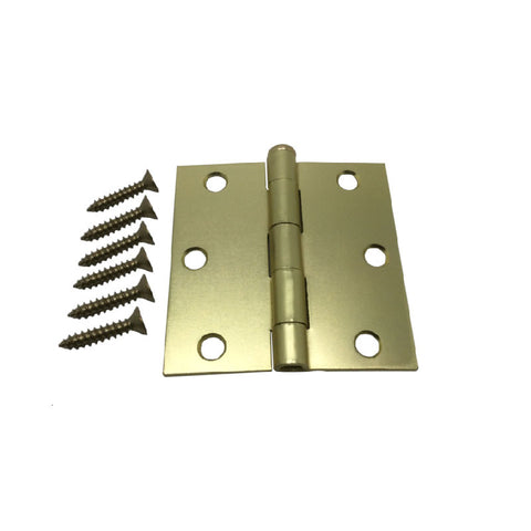"3"" Hinge - Satin Brass Square Corner"