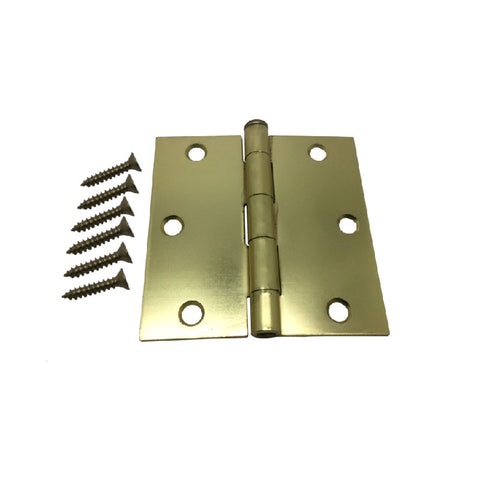 "3.5"" Hinge - Satin Brass Square Corner"