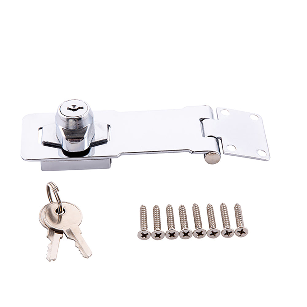 "4-1/2"" Key Locking Hasp Keyed Steel Safety Hasp Lock Chrome Finish with Screws for Doors Cabinets Home Master Hardware"