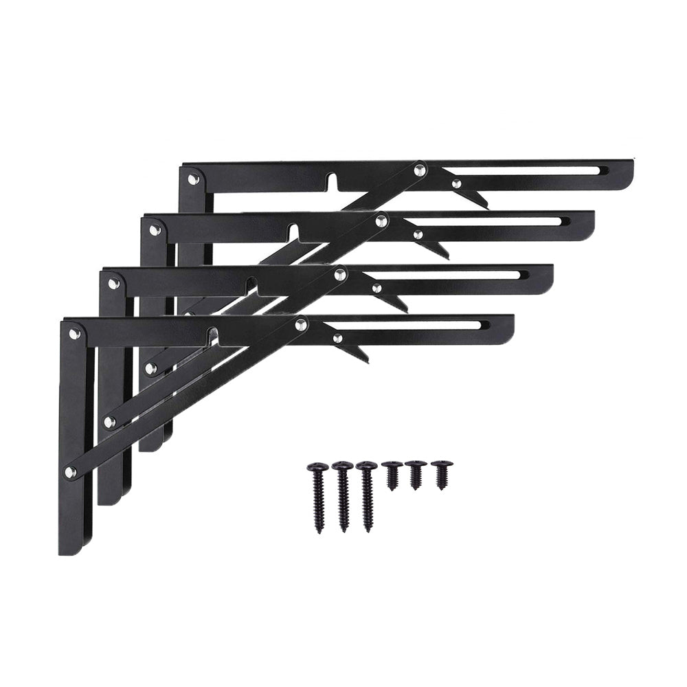Home Master Hardware 12 in Heavy Duty Folding Shelf Brackets Wall Mounted Collapsible Foldable Shelf Bracket for Table Work Bench ,Space Saving DIY Bracket 4 Pack