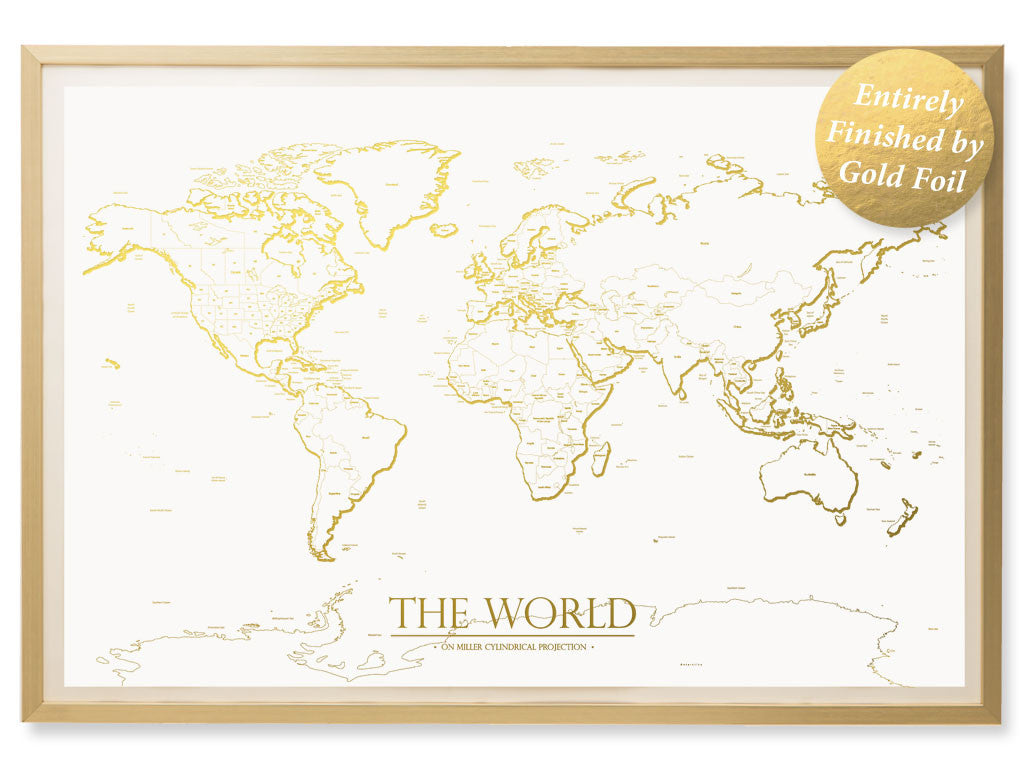Gold World Map Poster Classic Edition Kings Map