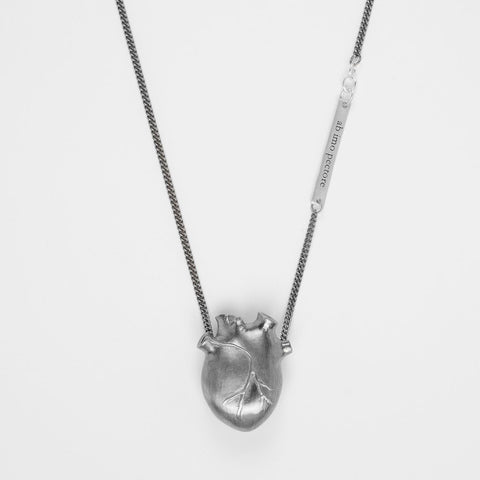 Large Anatomic Heart Necklace, Black silver