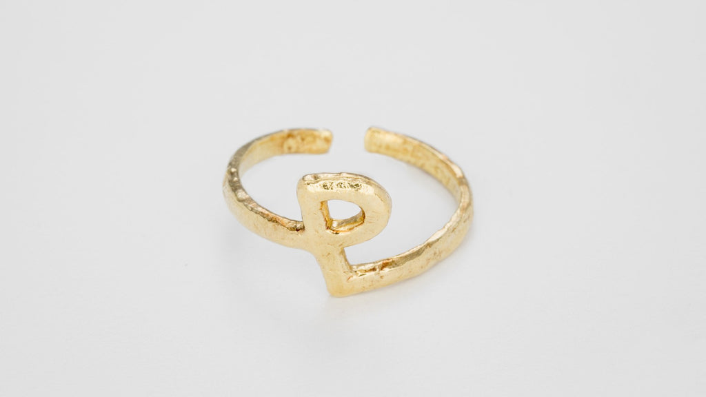 Gold Alphabet Rings
