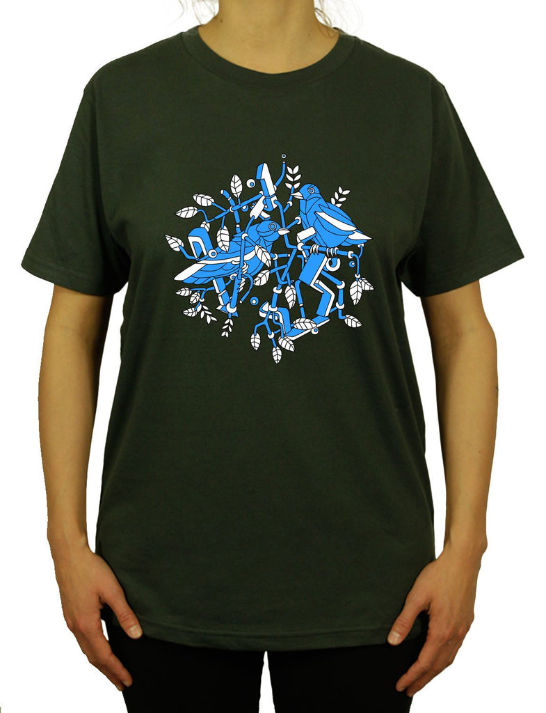 Cubic Birds Unisex Mens or Women's Organic Cotton T-Shirt by ethical clothing brand SPUK T-shirts aka Spunky Tees since 1998