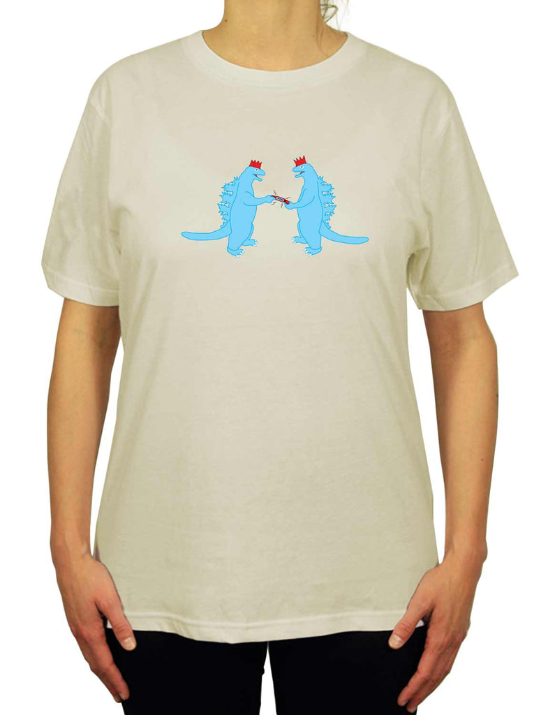 Cool Dinopop Unisex Mens or Women's Organic Cotton T-Shirt by ethical clothing brand SPUK T-shirts aka Spunky Tees since 1998