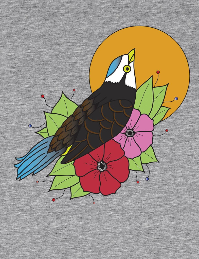 Flight With Flowers Unisex Mens or Women's Organic Cotton T-Shirt by ethical clothing brand SPUK T-shirts aka Spunky Tees 1998