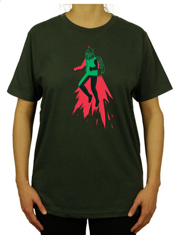 Cool Jetpack Unisex Mens or Women's Organic Cotton T-Shirt by ethical clothing brand SPUK T-shirts aka Spunky Tees since 1998