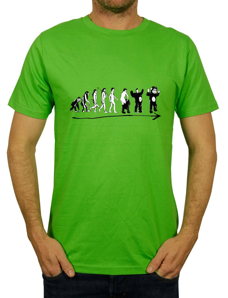 Monkevolution Unisex Men's or Women's Organic Cotton T-Shirt by ethical clothing brand SPUK T-shirts aka Spunky Tees 1998