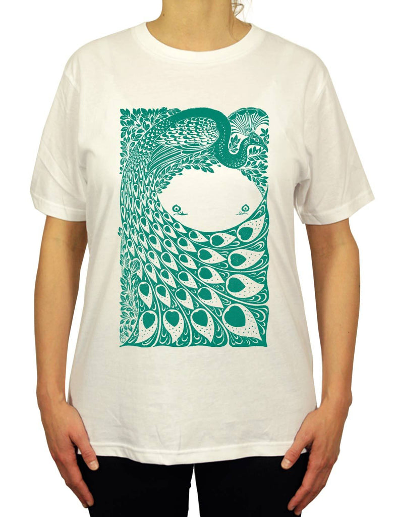 Cool Peacock Unisex Mens or Women's Organic Cotton T-Shirt by ethical clothing brand SPUK T-shirts aka Spunky Tees since 1998