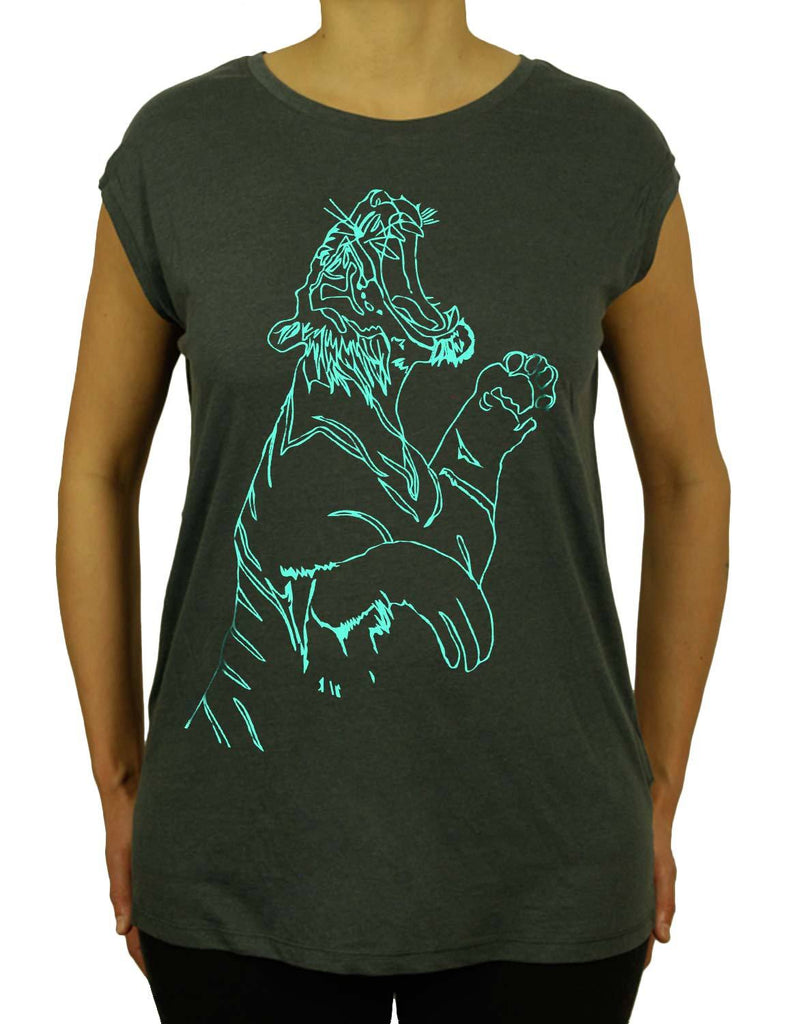 Tiger Feet Is Unisex Mens or Women Organic Cotton Sleeveless T-Shirt by ethical clothing brand SPUK T-shirts/Spunky Tees 1998