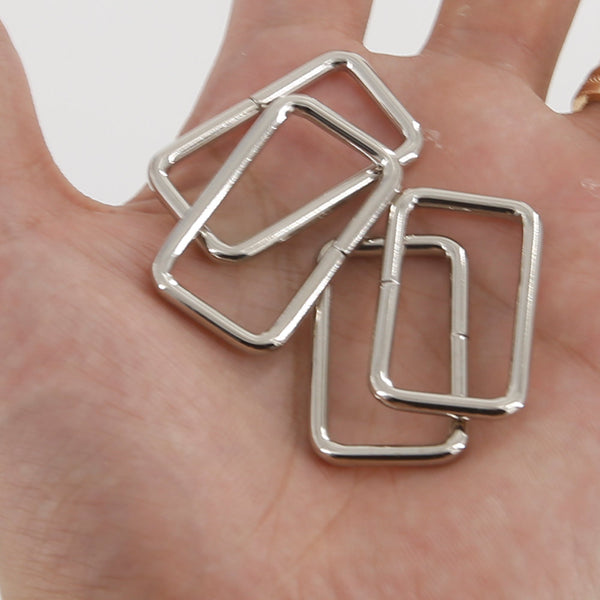 Leather Working Tools 30mm Rectangular Wire Loops Rings Silver Finish Purse Handbag Hardware Leathercraft Leather - LeatherMob