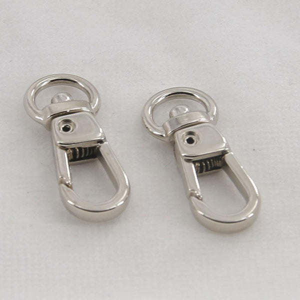 9mm Swivel Spring Snaps Silver Finish Clips Hook Eye Round Japan LeatherMob Leathercraft Leather
