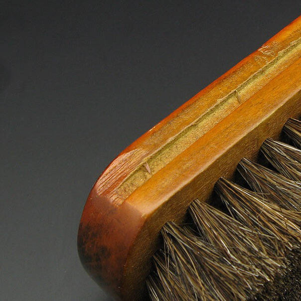Leather Working Tools Mini Size Brush Wooden Polish Maintain Cleaning, Horsehair - LeatherMob