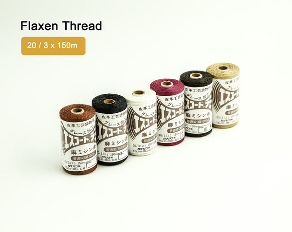Flaxen Linen Ramie Thread 20 / 3 x 150m Hand Sewing LeatherMob Leathercraft Craft Tool