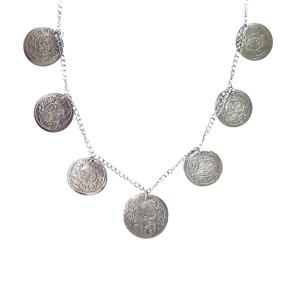 Single Sahara Coin Necklace in Silver