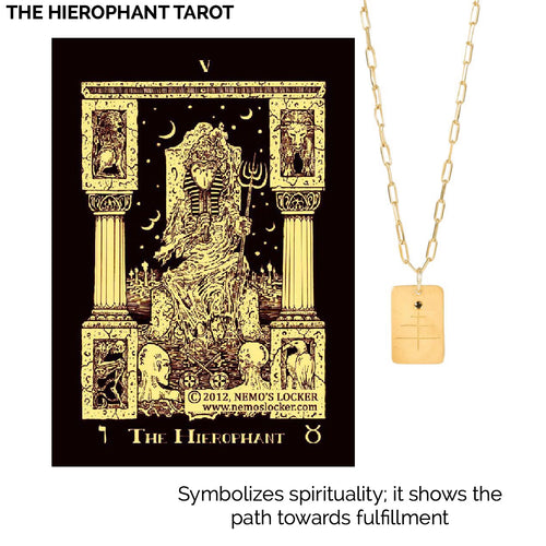 14k gold - Tarot The Hierophant