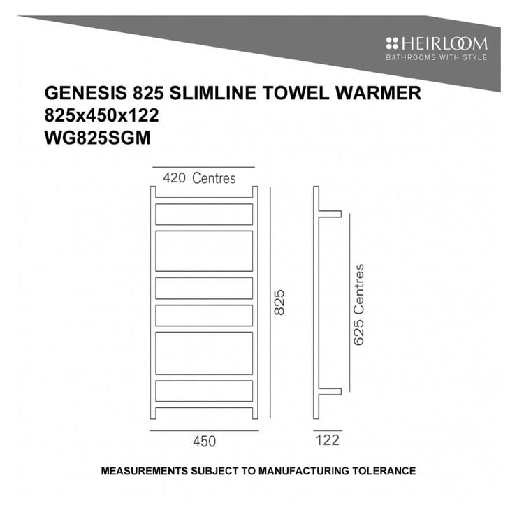HEIRLOOM GENESIS 825 SLIMLINE TOWEL WARMER GUNMETAL