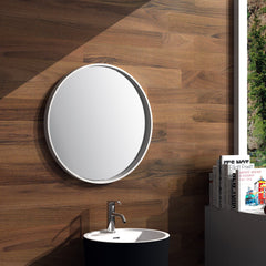 ELITE HALO ROUND FRAMED MIRROR 700MM GREY QUARTZ