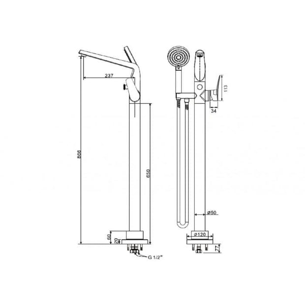 AMERICAN STANDARD MILANO FLOOR MOUNTED BATH FILLER WITH HAND SHOWER