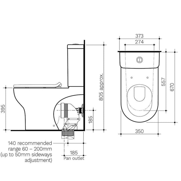 CLARK ROUND BTW TOILET SUITE SPEC OR DATA SHEET