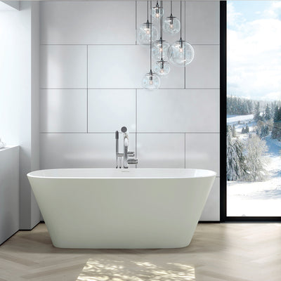 matte white freestanding bath