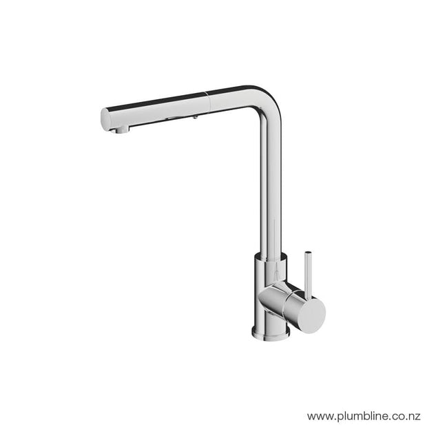 PLUMBLINE BUDDY SQUARE SPOUT PULLOUT SPRAY KITCHEN MIXER BRUSHED NICKEL OR BLACK