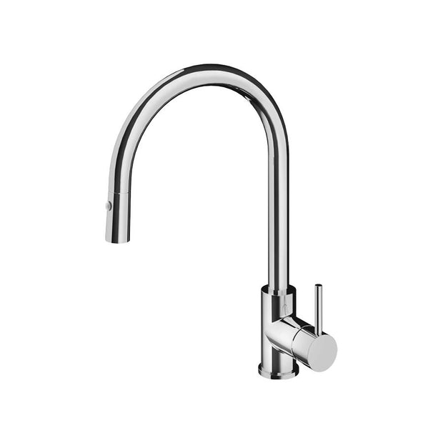 PLUMBLINE BUDDY ROUND SPOUT PULLOUT SPRAY KITCHEN MIXER BRUSHED NICKEL OR BLACK